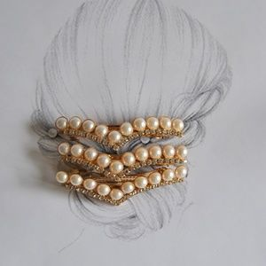 THREE 3 V Shaped Pearl Hair Clips Accessories